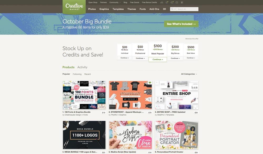 free design resources, Creative Market