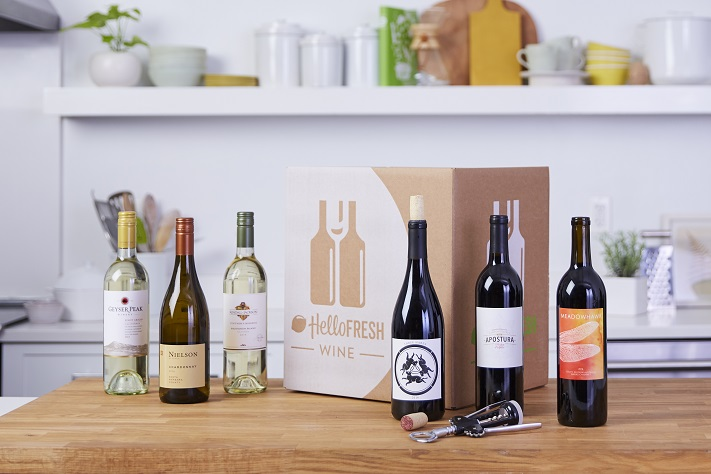 Hello Fresh Wine Subscription Displaying 6 Bottles
