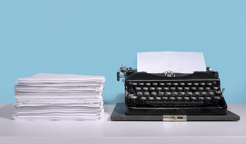 Typewriter and manuscript