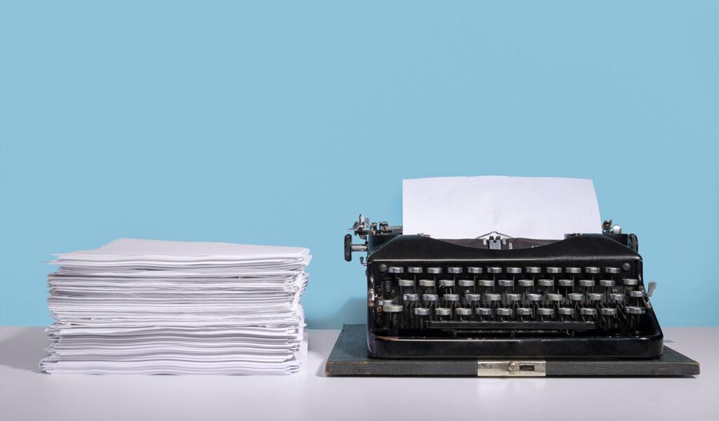 Manuscript and typewriter